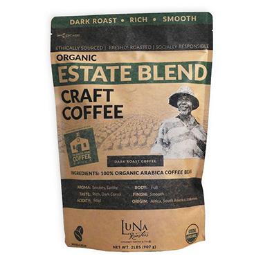 Luna Roasters Organic Estate Blend Coffee, Whole Bean (2 lb.)