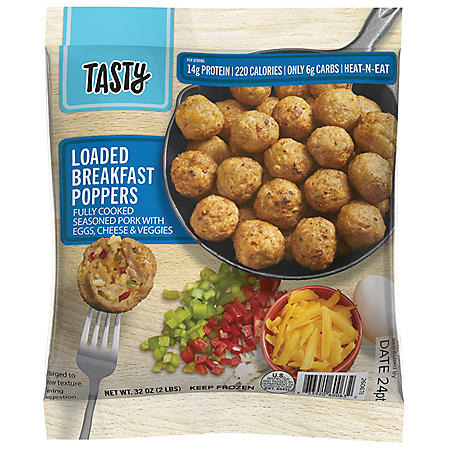 Tasty Loaded Breakfast Poppers With Pork, Egg, Cheese and Veggies, Frozen (32 oz.)