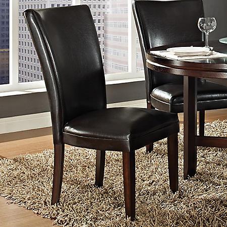 Harding Leather Parsons Chair - Dark Brown - 2pk.