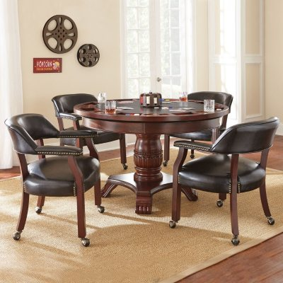 Talley Dining Table with Poker Game Top and 4 Chairs Assorted