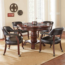 Talley Dining Table with Poker Game Top and 4 Chairs (Assorted Colors)