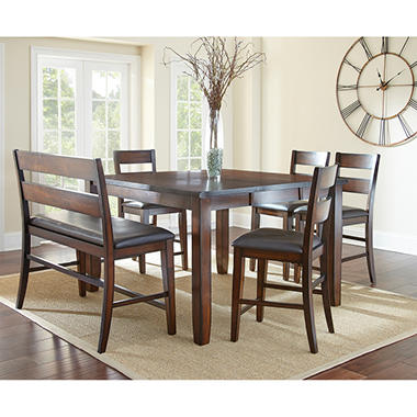 Wescott Counter Height Table Bench And Chairs 6 Piece Dining Set