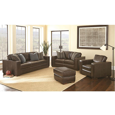 ravello full grain leather sofa loveseat chair and ottoman set. beautiful ideas. Home Design Ideas