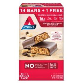 Atkins Meal Bars Chocolate Peanut Butter Pack (14 + 1 Bonus Bar)