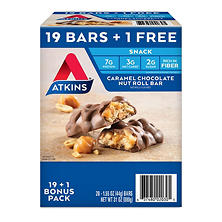 Atkins Snack Bar, Caramel Chocolate Nut Roll, Keto Friendly (20 ct.)