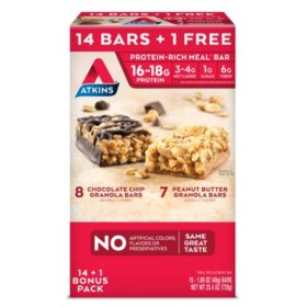Atkins Meal Bars Variety Pack (14 + 1 Bonus Bar)