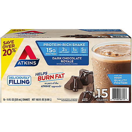 Atkins Gluten Free Protein-Rich Shake, Dark Chocolate Royale, Keto-Friendly (15 pk.)
