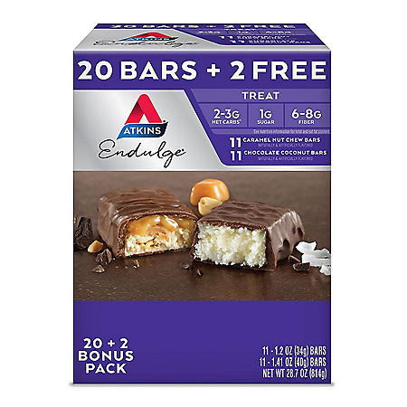Atkins Endulge Variety Pack, Caramel Nut Chew and Chocolate Coconut Bars, Keto Friendly (22 ct.)