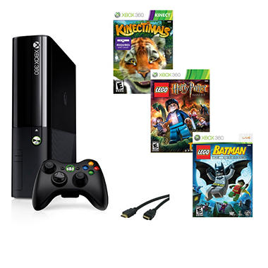 Xbox 360 4GB E System with Lego Batman, Lego Harry Potter, Kinectimals & HDMI Cable