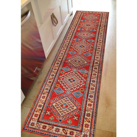 Traditional Kazak Hand-Knotted 3' x 10' Runner, Multi-Color