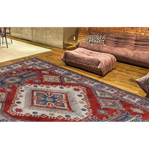 Traditional Kazak Hand-Knotted 9' x 13' Area Rug, Multi-Color