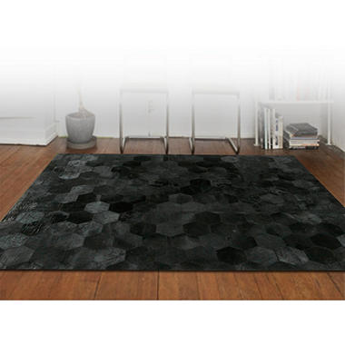Handcrafted Cowhide 8' x 10' Area Rug, Black