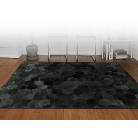 Handcrafted Cowhide 6' x 9' Area Rug, Black