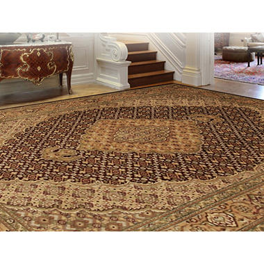 Traditional Hand-Knotted 5' x 7' Area Rug, Brown Beige