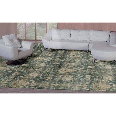 Hand-Knotted 9' x 12' Area Rug, Green