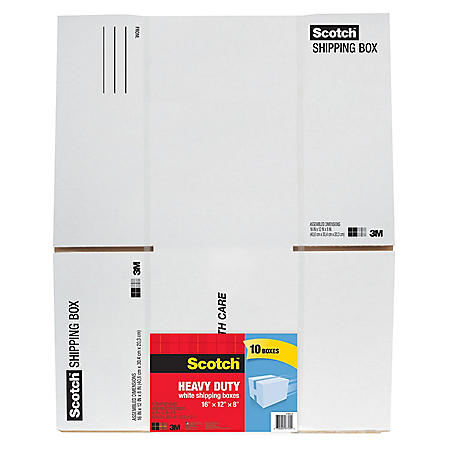 "Scotch Shipping Box, 16"" x 12"" x 8"", White (10 pk.)"