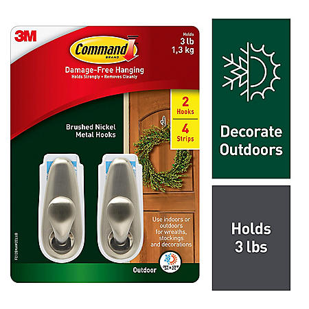 3M Command Outdoor Forever Classic Medium Metal Hooks Club Pack