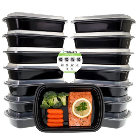 Freshware 28 oz. One-Compartment Meal Prep Food Containers, 15 Pack