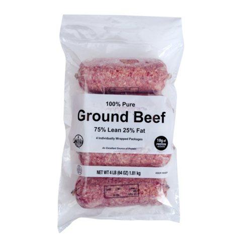 Ground Beef, 75% Lean, Frozen (4 lbs.)