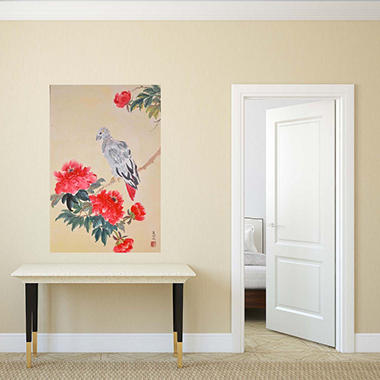 "African Gray Congo and Peonies Canvas Wall Art, 18"" x 27"""