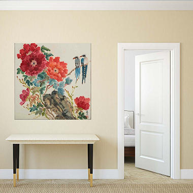 "Mountain Jays and Peonies Canvas Wall Art, 30"" x 30"""