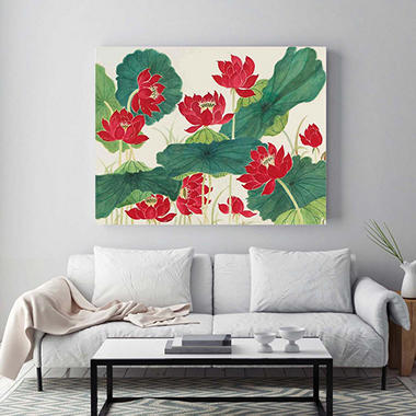 "Red Lotus Canvas Wall Art, 24"" x 32"""