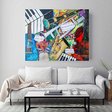 "Blues and Jazz Canvas Wall Art, 20"" x 26"""