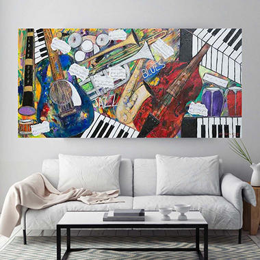 "Jazz and Blues Notes Canvas Wall Art, 16"" x 36"""