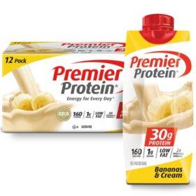 Premier Protein High Protein Shake, Bananas & Cream (11 fl. oz., 12 pack)