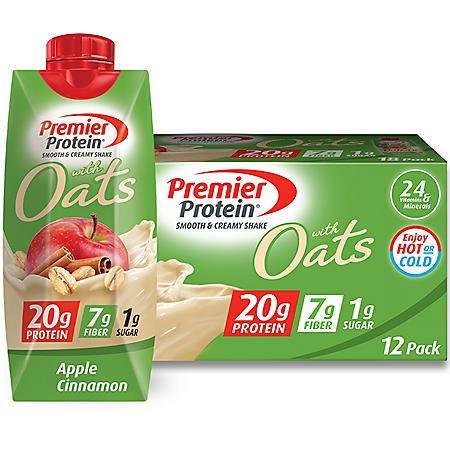 Premier Protein 20g Protein with Oats Shake, Apple Cinnamon (11 fl. oz., 12 pk.)