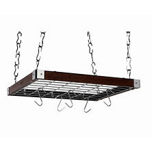 Espresso Wood Square Ceiling Rack