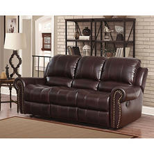 bentley topgrain leather reclining sofa