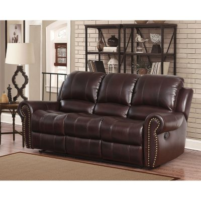Bentley Top Grain Leather Reclining Sofa