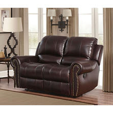 bentley topgrain leather loveseat