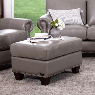 Helena Top-Grain Leather Ottoman