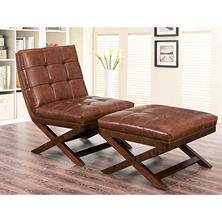 Tribeca Leather Chair and Ottoman