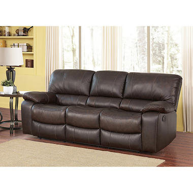 Riley Top-Grain Leather Reclining Sofa  sc 1 st  Samu0027s Club : brown leather recliner sofas - islam-shia.org