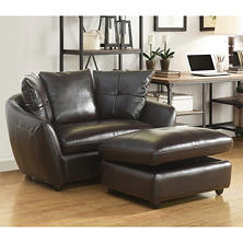 Milano Leather Oversized Chair and Storage Ottoman