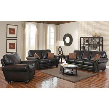 Perfect Melrose Leather Sofa, Loveseat And Pushback Recliner, 3 Piece Set