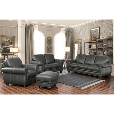 Kassidy Top Grain Leather Sofa, Loveseat, Armchair And Ottoman, 4 Piece