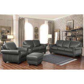 Kassidy Top-Grain Leather Sofa, Loveseat, Armchair and Ottoman, 4-Piece Set