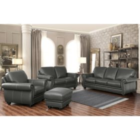 Kidy Top Grain Leather Sofa Loveseat Armchair And Ottoman 4 Piece
