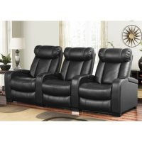 Abbyson Living Larson Leather Reclining Home Theater Seating 3-Piece Set