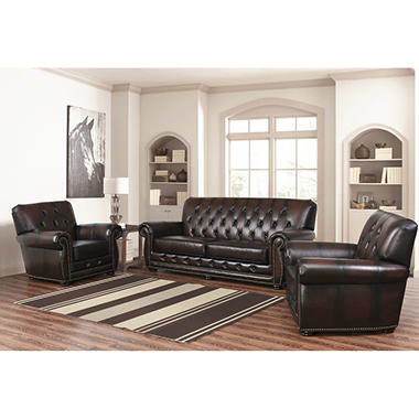 Emily Leather Sofa And Chairs, 3 Piece Set