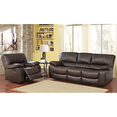 Riley Top Grain Leather Reclining Sofa And Chair Set Sam