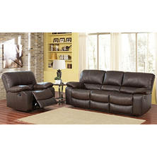 Riley Top-Grain Leather Sofa and Recliner Bundle