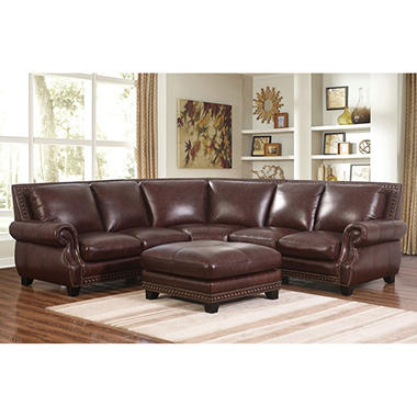 top grain leather sectional palisades 100 top grain leather sectional and ottoman 6285