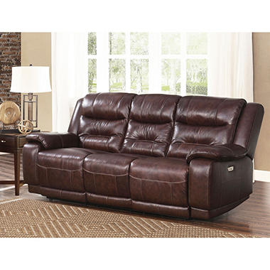 Genial Chandler Top Grain Leather Power Sofa With USB Port