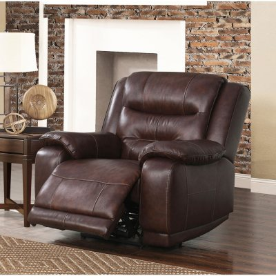 Zoom u0026 Pan & Chandler Top-Grain Leather Power Recliner with USB Port - Samu0027s Club