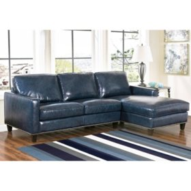 Members Mark Oliver Top Grain Leather Sectional Sofa Assorted Colors